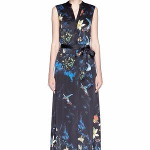 'Marianna' Enchanted Forest Print Silk Shirt Dress